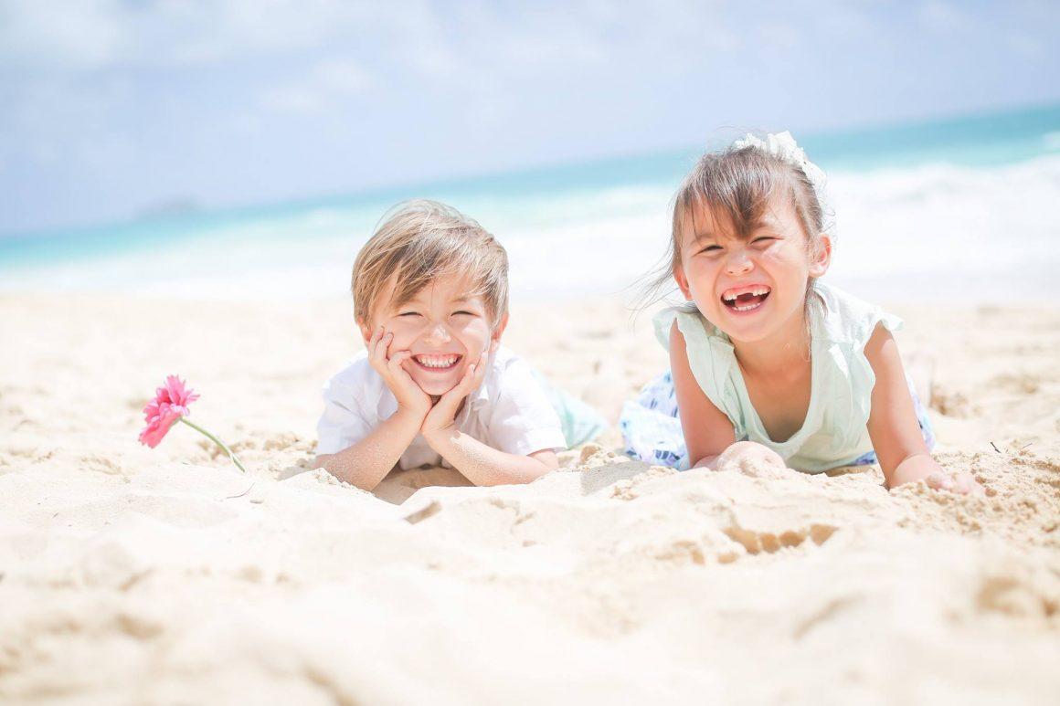 ハワイで子ども家族撮影